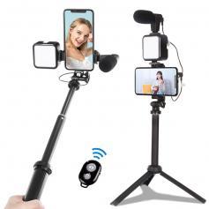 KIT-06LM Vlogging-Kit für YouTube, mit Aufhelllicht, Mikrofon und leichtem Handyhalterstativ, kompatibel mit iPhone/Smartphone/Kamera