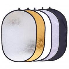 Riflettore di luce ovale 5 in 1 24 x 35 pollici (60 x 90 cm) Riflettori di illuminazione per fotocamera portatile pieghevole per studio fotografico/Kit diffusore con custodia per il trasporto