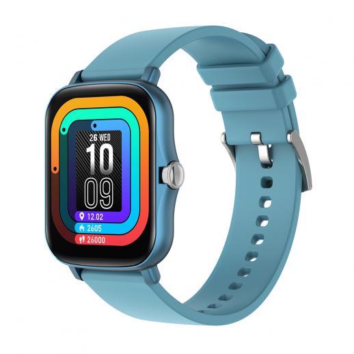"""Smartwatch Y20 1.7"""" full touchscreen com monitoramento de sono de frequência cardíaca compatível com Android iOS Azul"""