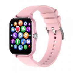 Montre intelligente Y20 avec surveillance de la fréquence cardiaque et du sommeil, écran tactile complet de 1,7 pouces, montre de fitness intelligente pour femmes et hommes, compatible avec Android iPhone iOS rose