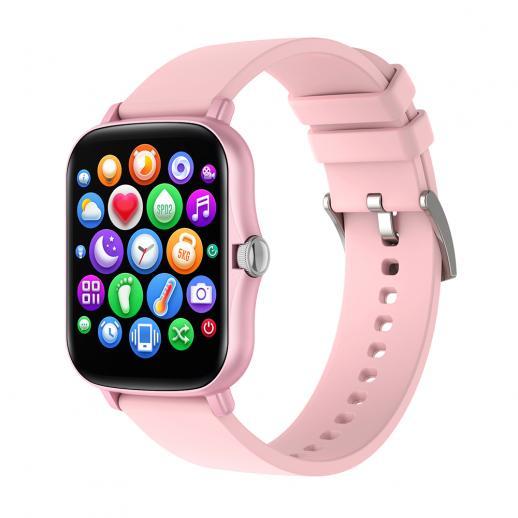 """Smartwatch Y20 1.7"""" full touchscreen com monitoramento de sono de frequência cardíaca compatível com Android iOS Rosa"""