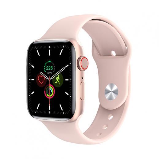 Relógio inteligente W26 + PRO com tela de toque total de 1,75 polegadas com frequência cardíaca compatível com Android iOS rosa