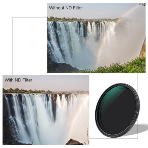 Filtro ND Variable 62mm ND8-ND128 Densidad Neutra Nano-X