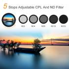 Graufilter Variabler ND2-ND32 und Polfilter 72mm