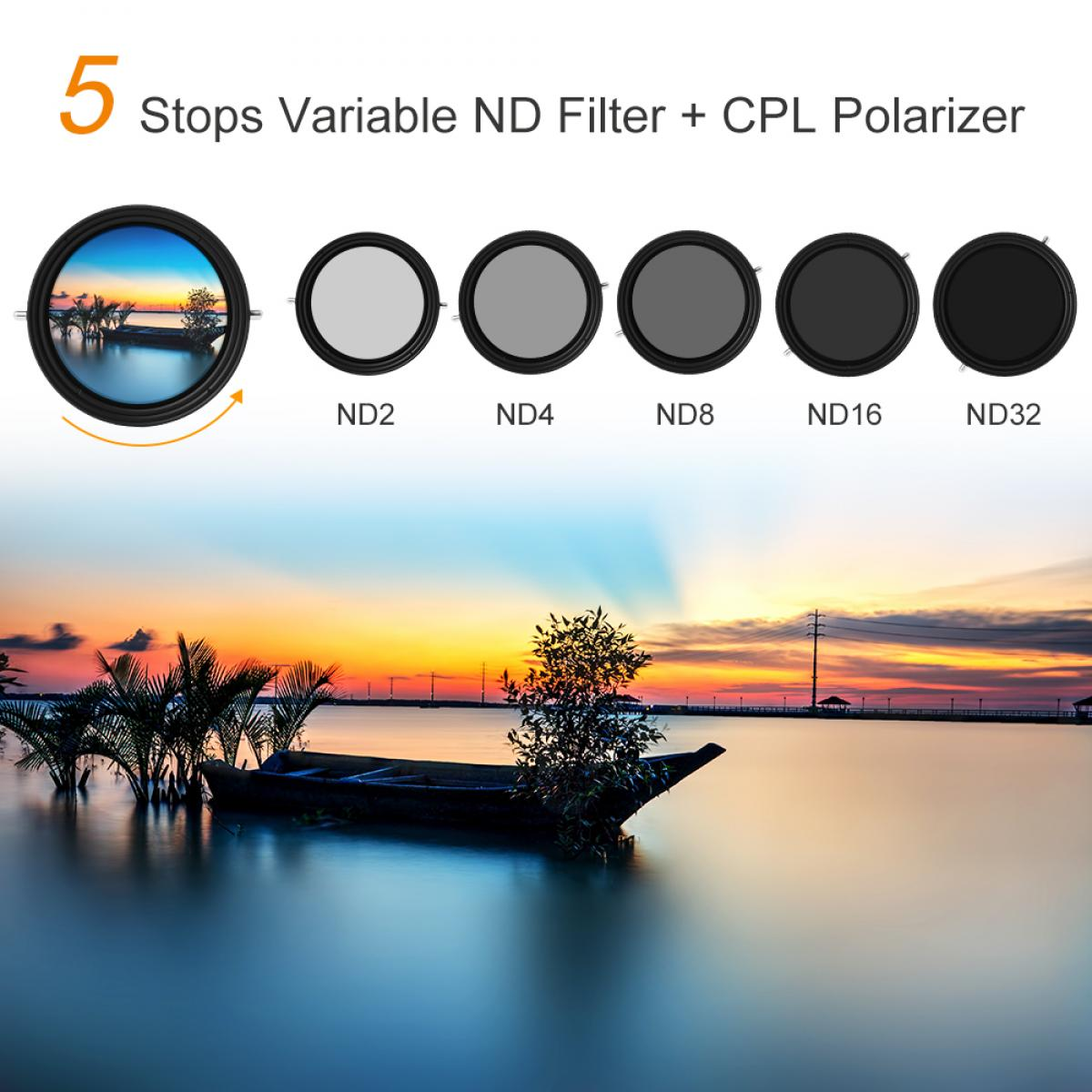 K&F 77mm ND2-ND32 Filtro ND Variable + Filtro Polarizador Nano-X