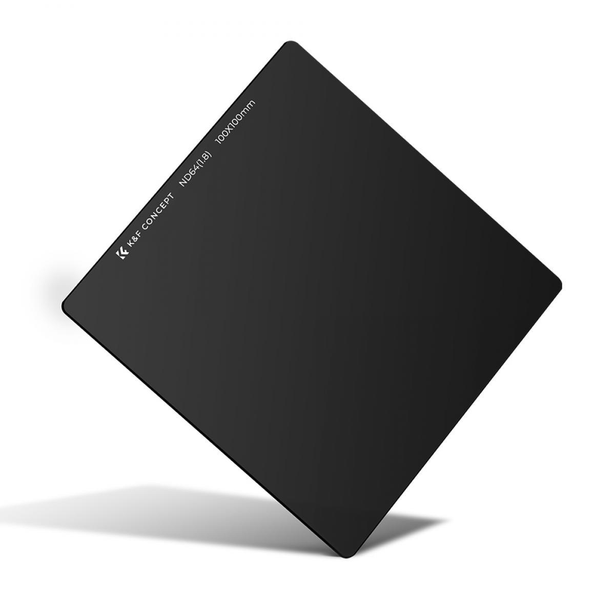 K&F Concept - Filtro de Densidad Neutra de 6 pasos ND64 (1.8)  fabricado en cristal en Alemania de 100x100mm compatible con otras marcas de portafiltros
