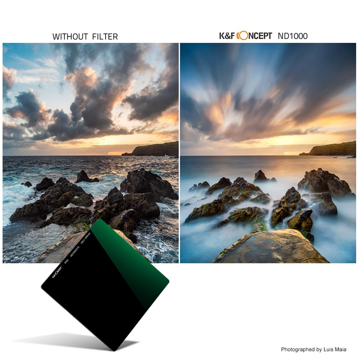 K&F SN251 100x100mm ND1000 Quadratischer Filter mit 10 Blenden, mehrfach beschichtet Für DSLR