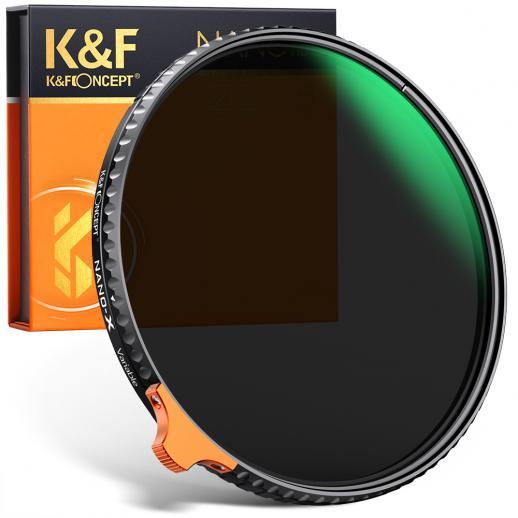 K&F Concept HD Putter 82 mm ND2-ND400 (9 arrêts) Filtre ND variable, réglable étanche / résistant aux rayures pour objectif de caméra (Nano-X II)