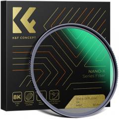 Filtre K&F Nano-X 72 mm Noir Pro-Mist 1/4 , Revêtement vert imperméable et résistant aux rayures
