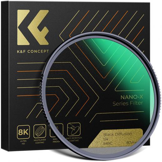 K&F Nano-X 82 mm czarny filtr Pro-Mist 1/4 , Wodoodporny i odporny na zarysowania, powlekany na zielono