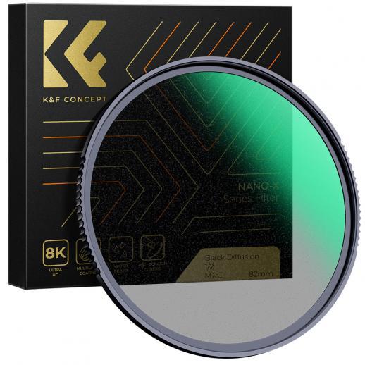77mm, Nano-X, filtre souple noir en verre optique 1/2 ultra-clair, recouvert d'un film vert imperméable, résistant aux rayures et antireflet