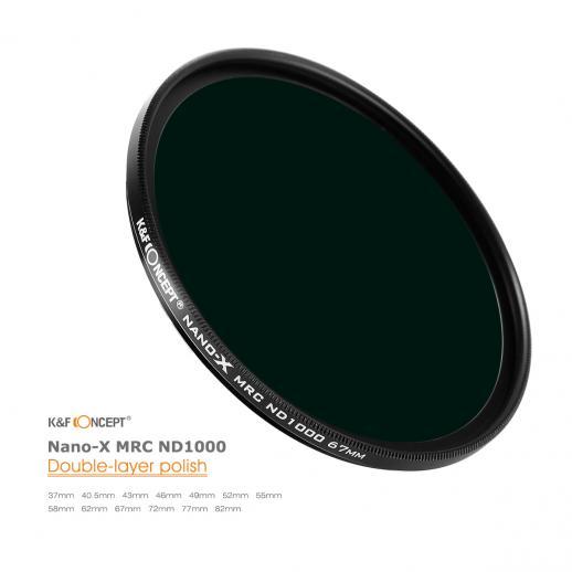 Filtro de Lente de Densidade Neutra de 82MM 10 Paragens Filtro ND 1000 Filtro