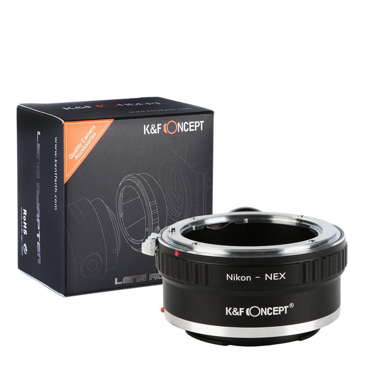 K&F M11102 Lentes Nikon F para Sony E Adaptador de montagem de lente E com suporte para tripé