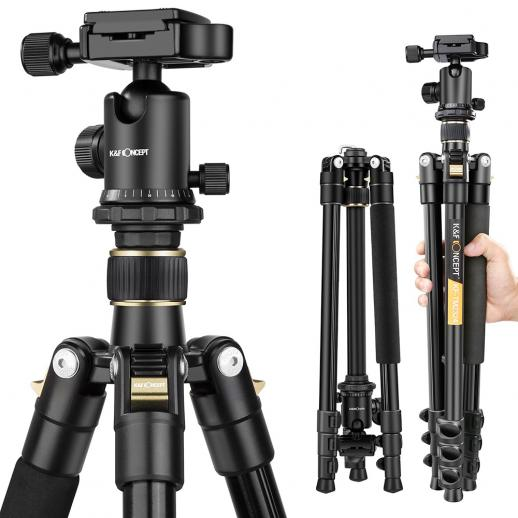 K&F TM2324 Lightweight Travel Tripod for Canon Nikon DSLR Camera 62Inch Aluminum