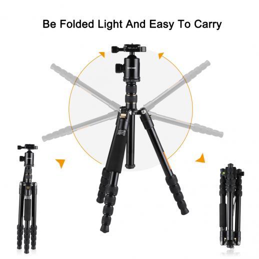 Trépied en aluminium TM2515 pour appareil photo reflex numérique 60 sections 5 pouces