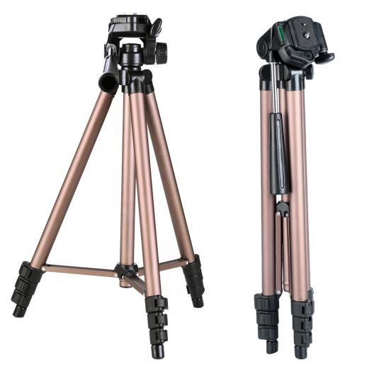 TL2023 Portable Lightweight Travel Tripod Aluminum 49 Inch 4 Section Load Capacity 2KG