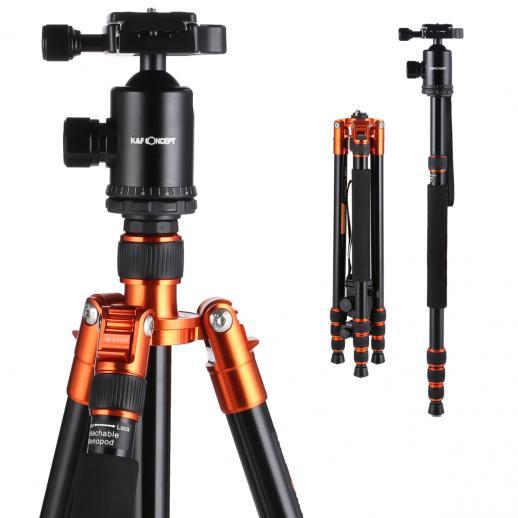 TM2534 (oranje) Statief Monopod-set Aluminium 64 inch 360 graden kogelkop 12 kg laadvermogen
