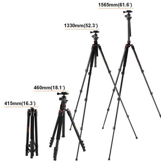 TM2324 (pomarańczowy) Aluminiowy statyw do aparatu lekkiego 62 cale do fotografii plenerowej Canon Nikon