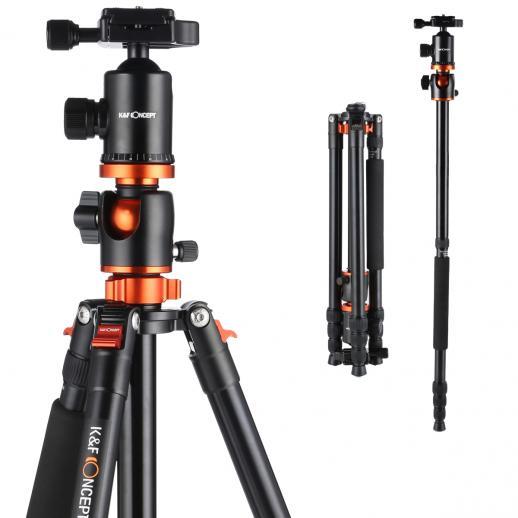 K&F TM2534T (Orange) Aluminium Caméra Trépied Monopode Kit pour Canon Nikon DSLR Photography pour DSLR