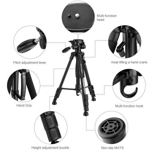 TM2324L Preto Portátil Tripé Compacto de 56inch Câmera de Vídeo Celular 3-Way Giratória Pan Tilt Cabeça