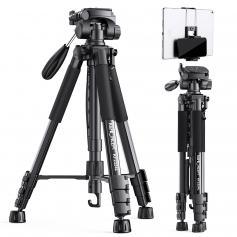 "TM2324L 58""/146cm Black Portable Compact Tripod 56inch for Video Camera Cellphone 3-Way Swivel Pan Tilt Head"