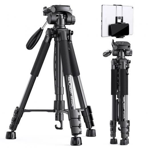 TM2324L Black Portable Compact Tripod 56inch for Video Camera Cellphone 3-Way Swivel Pan Tilt Head