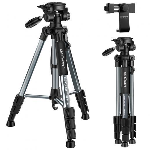 TM2324L grijs draagbaar compact statief 56 inch voor videocamera mobiele telefoon 3-voudige zwenkbare draaifunctie