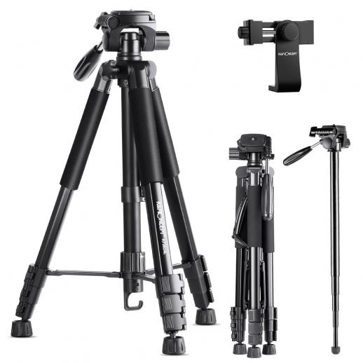 "TM2624L Portable Tripod,70""/177cm Travel Tripod Outdoor Compact Aluminum Video Camera Tripod Monopod with 3-Way Swivel Pan Tilt Head Cellphone Holder Smartphone Clip for Phone DSLR Camera"