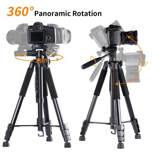 TM2624L Black Portable Compact Tripod 70inch for Video Camera Cellphone 3-Way Swivel Pan Tilt Head