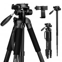 """68.9""""/175cm Bärbart Rese Stativ Utomhus Kompakt Aluminium Videokamera Stativ Monopod med 3-VäGS SVängbar Pan Tilt Head Mobiltelefonhållare för Telefon DSLR-Kamera"""