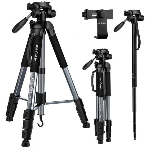 TM2624L Gray Portable Compact Tripod 70inch for Video Camera Cellphone 3-Way Swivel Pan Tilt Head