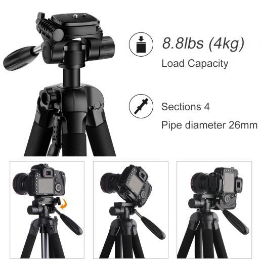 TM2624L Trípode Compacto Portátil Gris 70inch para Cámara Video Celular