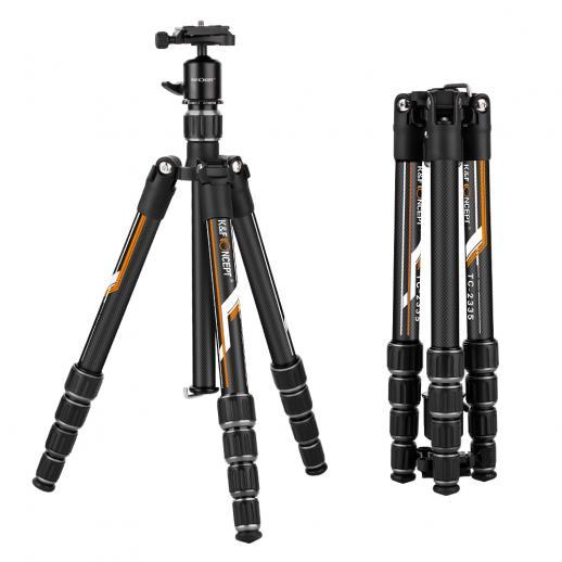 TC2335 (Orange) Portable léger pour trépied en carbone pour la photographie de voyage