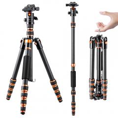 "60""/1.5m 17.6lbs Load Portable Travel Tripods Carbon Fiber Camera Tripod Lightweight Portable 360° Ball Head for SLR DSLR Cameras"