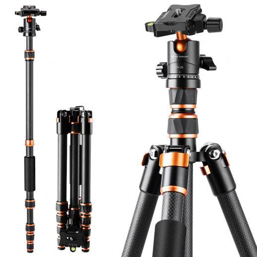 "60""/152cm Carbon Fiber Camera Tripod Portable Travel Tripods 360° Ball Head Detachable Monopod 17.6lbs Load with Carry Bag for SLR DSLR Cameras"