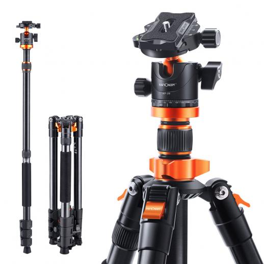 "K&F Concept 62"" Aluminum Tripod Monopod with Quick Release Plate, Ball Head and Compact Travel Carrying Bag SA254M1 for DSLR Canon Nikon Sony Camera"
