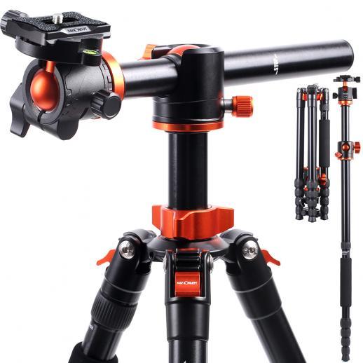 K&F Concept TM2515T1 Professionelles 170cm Kamerastativ mit 90 Grad Mittelsäulen Aluminiumstativ Tragbares Einbeinstativ