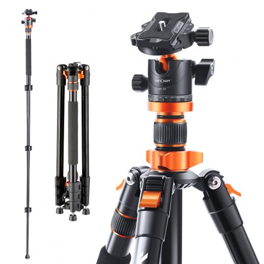 "K&F Aluminum Travel Vlog Tripod Monopod with 360° Panorama Ball Head 1/4"" Quick Release Plate Carrying Case Loading Up to 17.6lbs/8kg"