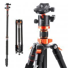 "55"" DSLR tripods Aluminium portable travel video tripod 22lbs Load Orange"