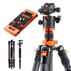 """Trépied de caméra en fibre de carbone trépied de voyage professionnel léger Vlog 67 """"/1.7 m 22lbs charge pour reflex DSLR (Planche à dégagement rapide gratuite)"""