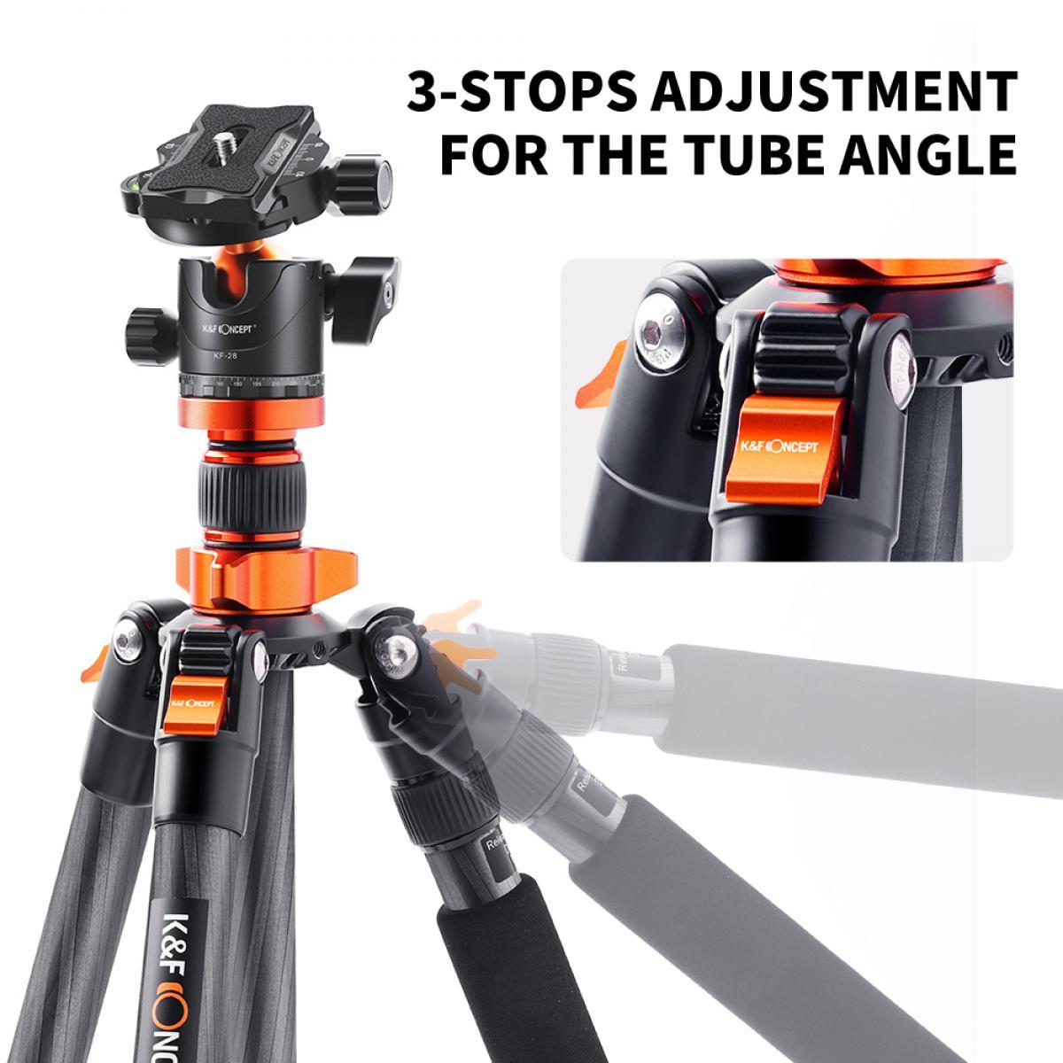 K&F SA255C1 Kohlefaser Stativ 172cm Carbon Kamerastativ, Kompaktes, Leichtes Reisestativ mit 360 Grad Kugelkopf