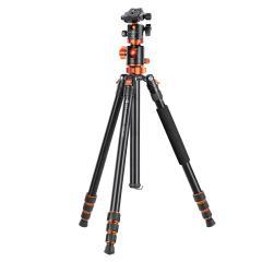"""Trépied de caméra professionnel en aluminium trépied de voyage portable 76 """"/1.9 m 22lbs charge avec monopode détachable pour appareils photo reflex numériques SA254T3"""