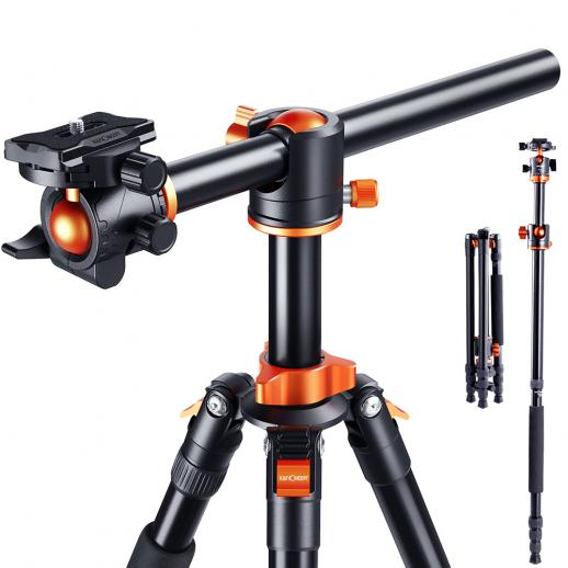 """Professionellt kamerastativ Aluminium bärbart resestativ 76 """"/1,9 m 22lbs last med avtagbar monopod för DSLR -kameror SA254T3"""