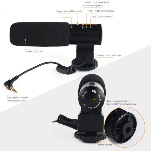 K&F Concept CM 500 Haglgeværmikrofon til DSLR Kamera