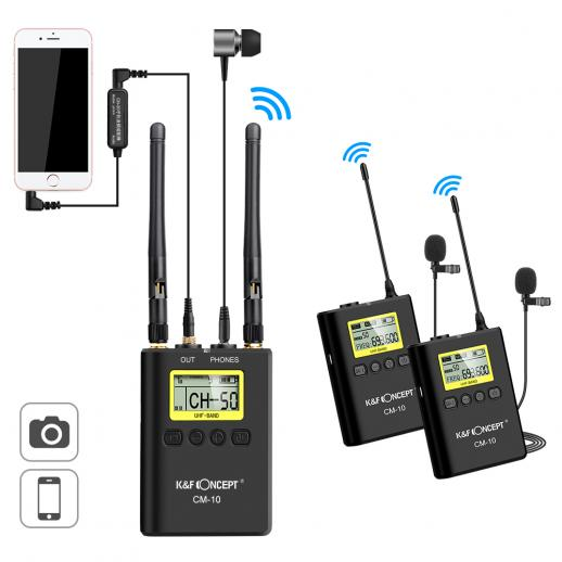 UHF 100M Bezprzewodowy pilot lavalier 100 kanałów z odbiornika 2 nadajniki + 1 dwukanałowy do Canon Nikon DSLR kamery kamerę wideo do prezentacji iPhone iPad & Wywiad
