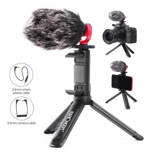 K&F Concept Microfono Direzionale, da utilizzare con Fotocamera e Telefono, Video per Tik Tok