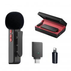 E300 2,4 GHz Wireless Lavalier Mikrofon mit Ladetasche Plug&Play für Streaming - Lighting