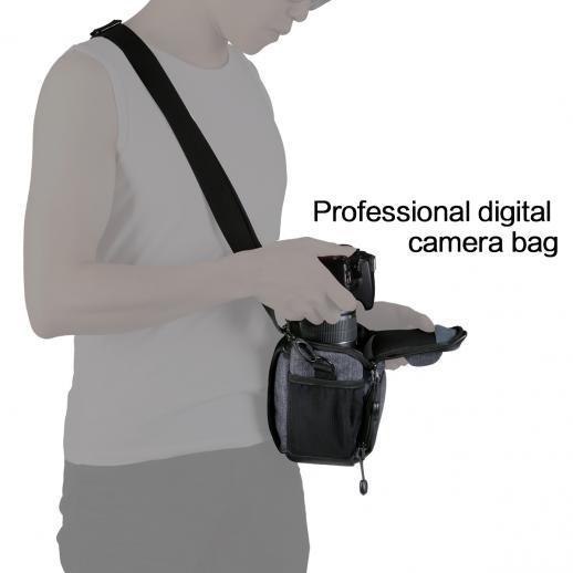 Borsa per fotocamera DSLR Borsa grigia 7.09 * 3.94 * 6.49 pollici