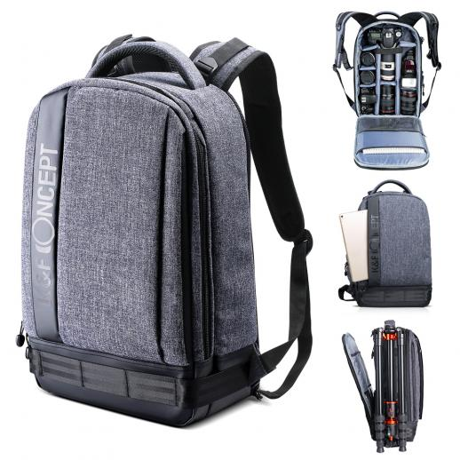 """Lightweight DSLR Camera Backpack Water Resistant Nylon Multipurpose Bag for Canon Nikon Fuji and Other Cameras Laptop Ipad - Light Grey(17.32 * 6.30 * 11.42"""")"""