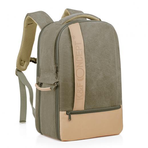 Nuovo prodotto: K&F Zaino fotografico Elegante borsa fotografica in tela con parapioggia per fotocamera DSLR, laptop da 14 pollici, treppiede, lenti